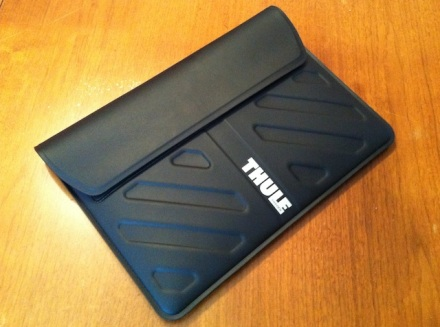 Thule Macbook Air Laptop Sleeve on wooden table
